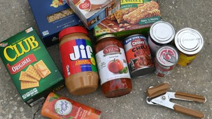 Food: The kinds of food you stock up on depends on your ability to cook and/or boil water, and if you have a way to keep food cold. In general, you should stock up on non-perishable, ready-to-eat food. FEMA suggests you have at least a three-day supply of food for each person. I prefer to have a few days more. If anyone in your house has special dietary needs, like an infant or an elderly person, you'll need to stock up for them. What you don't use can be donated to your local food pantry. Don't forget a manual can opener. Use a cooler and ice to keep perishable food cold. [Herald-Tribune staff photo / Mike Lang]