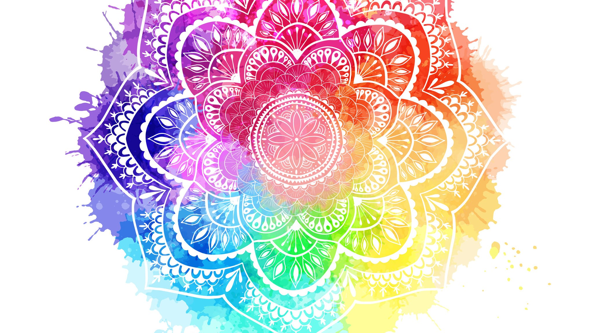 Round gradient mandala on white isolated background. Mandala over colorful watercolor. Beautiful vintage round pattern. - Vector illustration